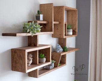 "Solid Wood Display Shelf 46""x 25""x5"".Square Rectangular floating wall shelf. Crystals shelf. Essential Oils Shelf. Geometrical wall shelf."