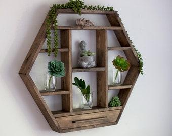 "X Large Hexagon Shelf 27""x 23.5"". Essential Oil Shelf. Crystal display shelf. Floating hexagon shelf with optional drawer."