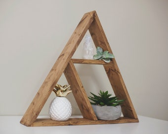 "Solid Wood Pyramid - Triangle Shelf 20""x 3"" . Different design & Color - LOCAL PICKUP ONLY"