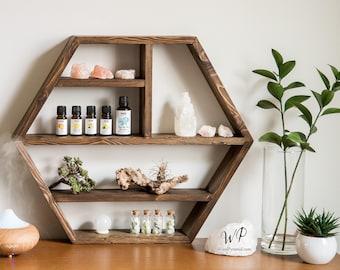 "Big Hexagon Shelf 21""x18""x3.5""(or 5"").Solid wood Crystal shelf. Essential Oil Shelf. Crystal display shelve.Floating deep hexagon shelf."