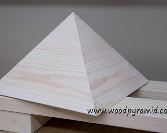 Giza Pyramid - Solid Wood Pine - White Finish - 9inch - side slope 51.8deg