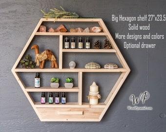 "Large Hexagon Shelf 27""x23.5"". Solid wood Crystal shelf. Essential Oil Shelf. Crystal display shelve. Hexagon shelf with optional drawer.."