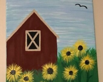 Acrylic Painting of barn with sunflowers surrounding.