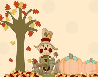 Scarecrow and Pumpkins Digital Stamp