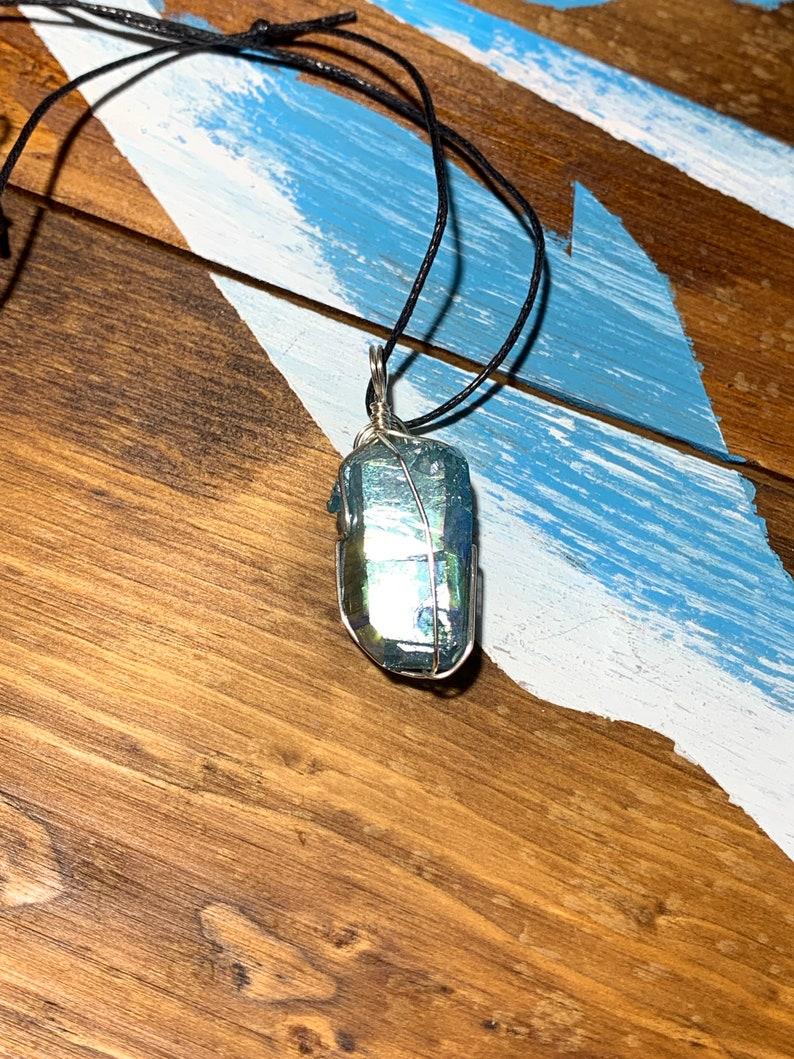 Aqua Aura Wire Wrapped Necklace    HOT-0182