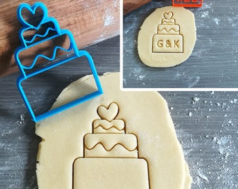 Wedding Cake Cookie Cutter with option to personalize