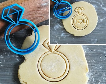 Diamond Ring Cookie Cutter with option to personalize