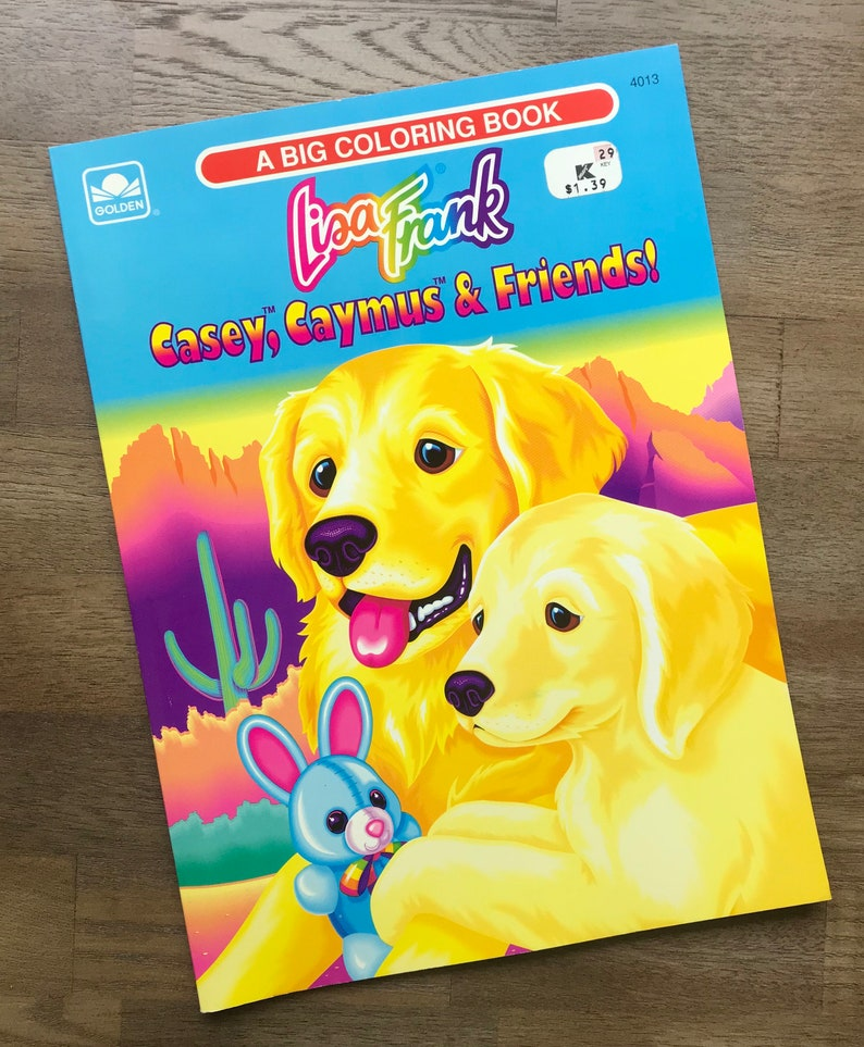 1993 Lisa Frank - Casey, Caymus & Friends! Big Coloring Book Golden  Retriever Dogs