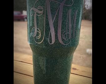 Seafoam green glitter tumbler with monogram.