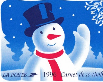 French Vintage Christmas Stamp Booklet Polar Bear Snowman Hot Air Balloon  Pane of Eight Pristine Stamps + Two Labels. Red Cross Semi-Postal