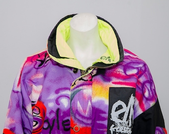 Elho Freestyle 90s Vintage Graffiti Snowboard Ski Jacket Hip Hop Street Neon  Multicolor Large 573715257