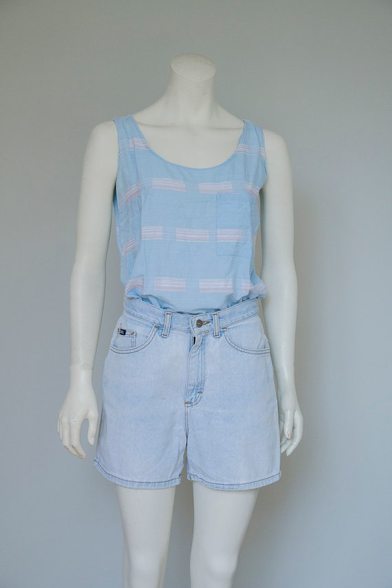 Lee Womens Light Blue Hight Waisted Denim Shorts