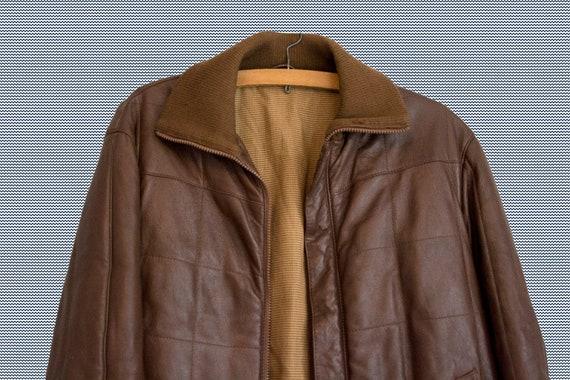 Kleidung Vintage Herren braun Lederjacke braun Ledermantel