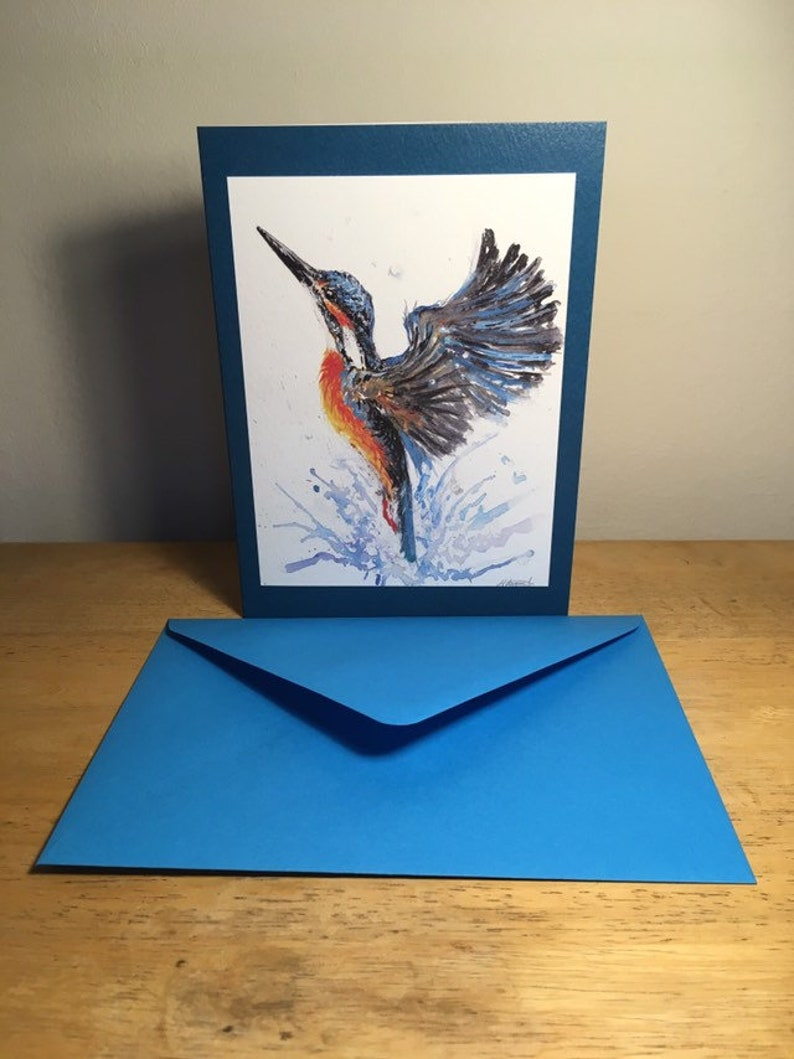 bright blue orange watercolour bird painting british wildlife unique birthday present greeting card any occasion Kingfisher in flight