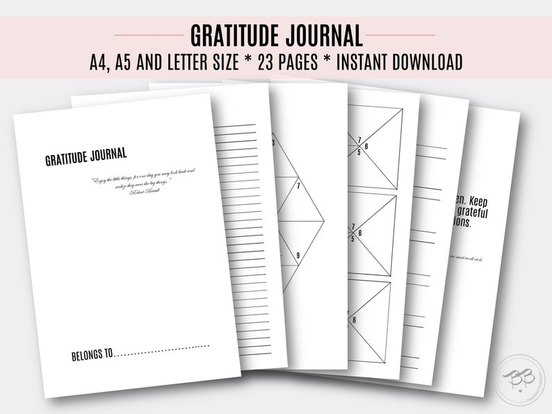Gratitude Journal/ PDF/ 3 sizes/ A4, A5, Letter size/ Printable Gratitude  tracker/ Life helper/ Workbook/ Digital Files/ INSTANT DOWNLOAD