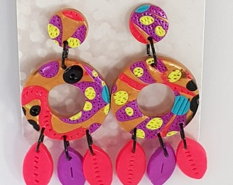 Dented Diva. Clay Earrings. Rainbow brights. Hand made