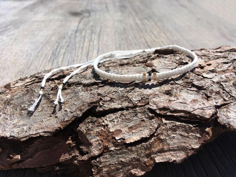 Woven Friendship Bracelet gold white Layered Bracelet