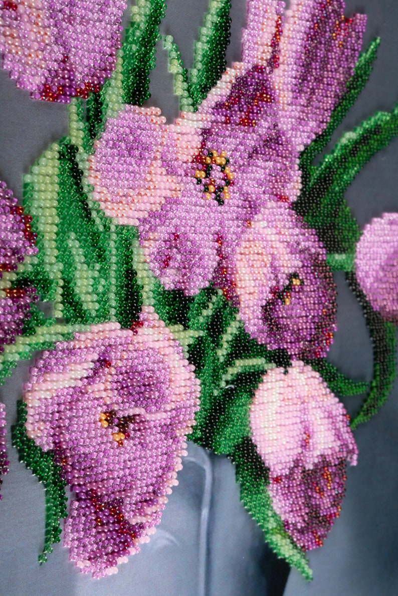 Beadwork Original picture Great Gift Picture embroidered with czech beads Tulips Homedecor Handmade Embroidered picture Framed