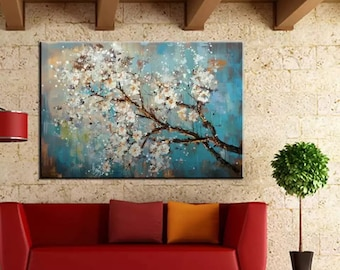 Large 100%  Handpainted Flowers Tree Abstract  Morden Oil Painting  On Canvas Wall Art Wall Pictures For Living Room Home Decor