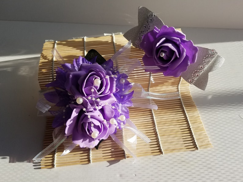 Purple and Silver Wrist Corsage wmatching Hair Clip