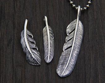 Sterling Silver Feather Pendant, Feather Necklace Pendant ,DIY Hand Chain Pendant,,Handmade Silver Jewelry,Feather Charms