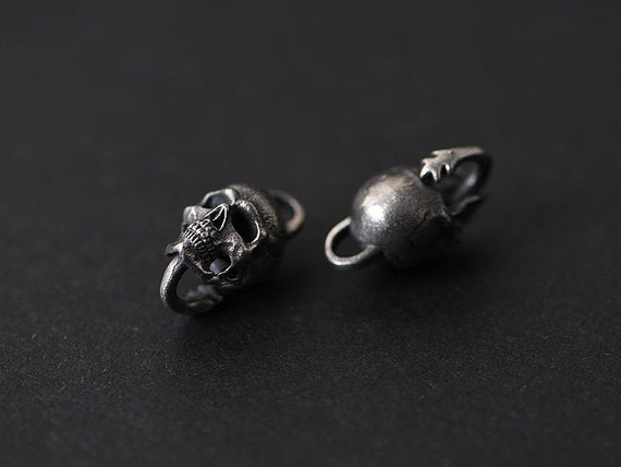 Skull Bracelet Skull Necklace 1-9mm Sterling Silver Skull Bead Large Hole Double Sided Gothic Skull Men/'s Biker Jewelry GS16-003
