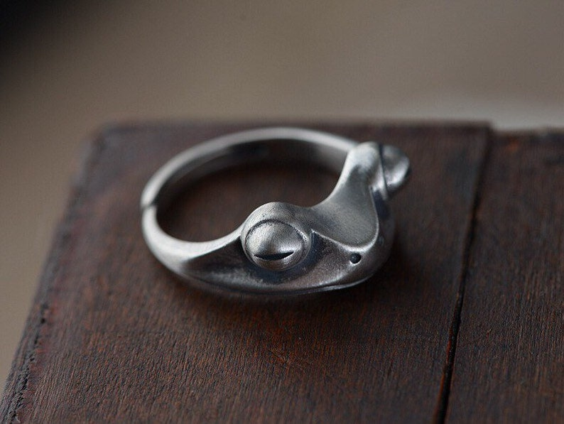Sterling Silver Frog Ring,Adjustable Ring,Open Ring,Silver Ring Women Men,Band Ring