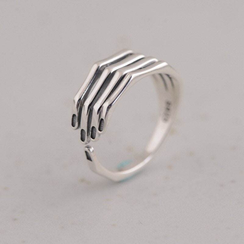 Grasp My Hand Sterling Silver Hand Ring,Finger Ring,Adjustable Ring,Open Ring,Band Ring,Gift For Girlfriend