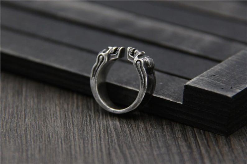 Sterling Silver Skull Ring,Silver Ring Men,Adjustable Ring,Open Ring,Band Ring