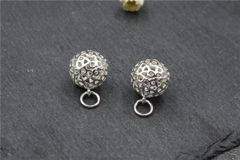 Handmade Silver Jewelry Necklace Bracelet Earrings Charm 11MM Sterling Silver Hollow Ball Bead Pendant Charm