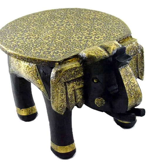 Wondrous The Vintage Decor Wooden Elephant Table Handcrafted With Brass Work Decorative Stool Display Stand For Showpiece And Wooden Decor 8 Onthecornerstone Fun Painted Chair Ideas Images Onthecornerstoneorg