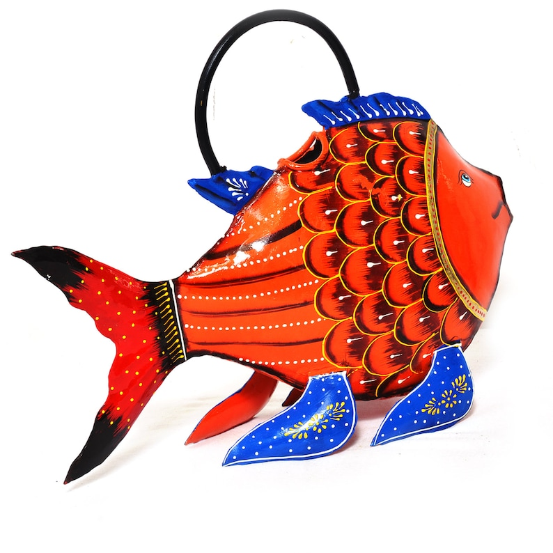 Beautiful Handcrafted Handmade Iron Hand Painted Fish Shape Water Can Home Decor