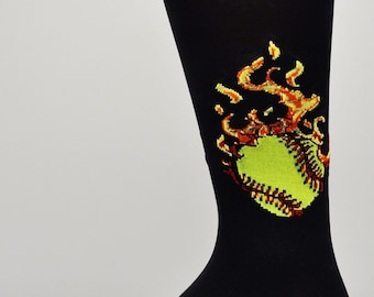 501b95c6002 Authentic Sox Softball with Flames Black Kids Knee Socks Size 7-9