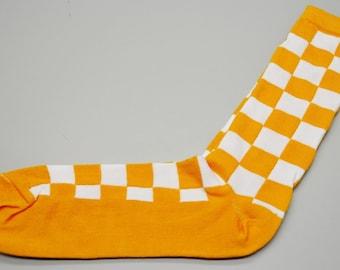 48636dc54ba1 Authentic Sox Orange and White Checked Checkerboard Men's Dress Socks Sz  13-15