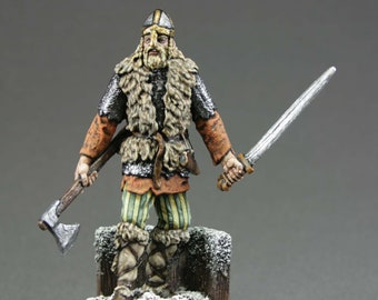 Painted Toy tin soldiers 54 mm. 1/32 Scale. Home Decor Gift for Man. Figure Viking. Collection Miniature