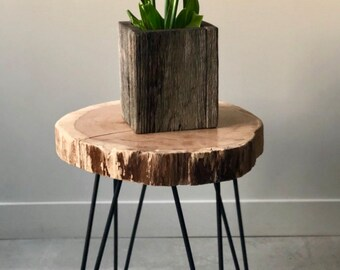 Live Edge Wood End Table