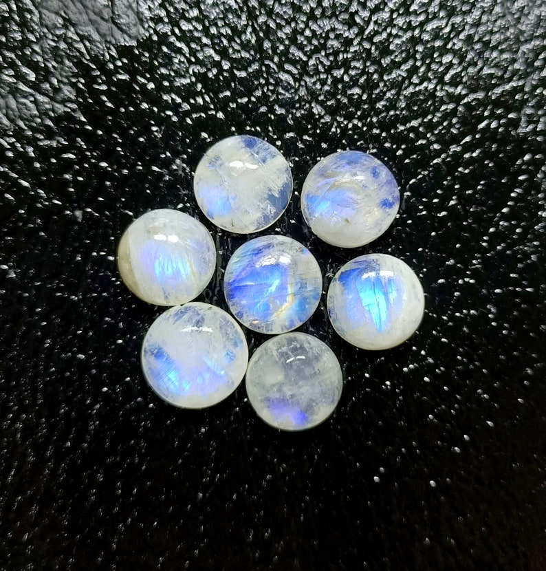 Matched Pairs Superb Quality Natural White Rainbow Moonstone Smooth Cabochon Round  Shape 11MM  Approx with Wholesaler Price