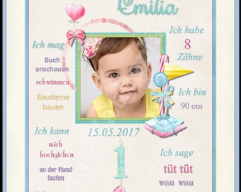 Milestone Billboards Photo Poster first birthday A4