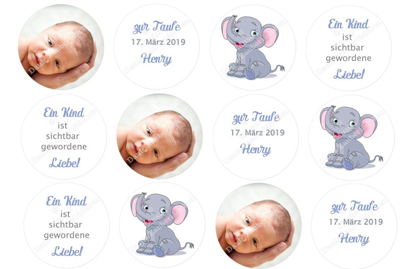 Muffincupcake Topper Cake Topper Baptism Baby Elephant 12 X 6 Cm