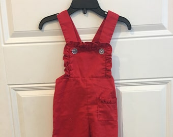 Vintage Toddler Girls' Red Ruffled Bib Overalls (18 months)