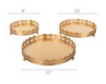 3- Metallic Decorative Tray Set
