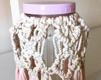 Candy floss macrame vase / jar