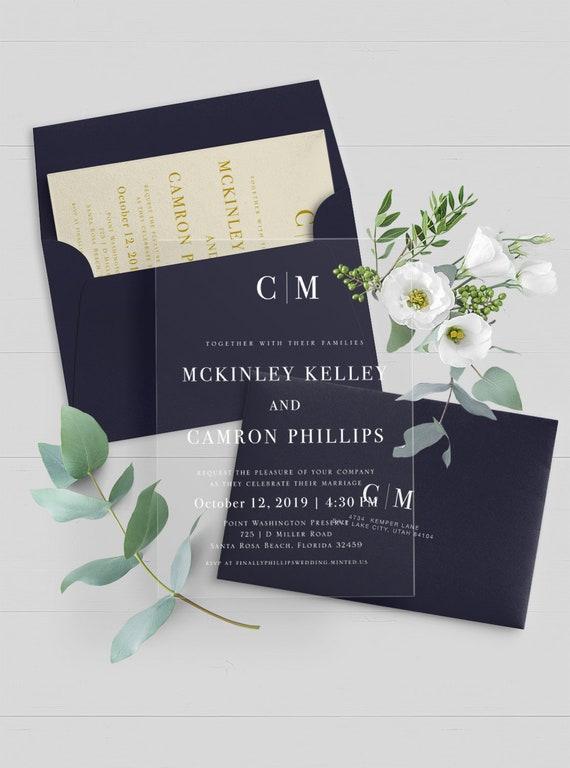 Vinyl Wedding Invitations Custom Clear Wedding Invitation Etsy