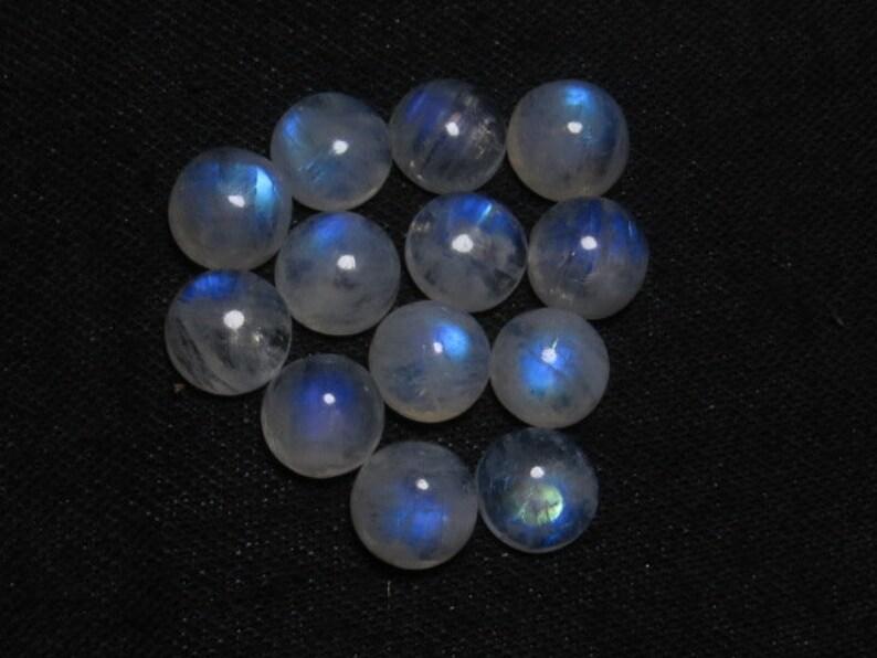 Pcs 13 Blue Mix   Flash Fire Cabochon -Round Shape Good Quality Rainbow Moonstone Size 10x10 mm Wholesale Price Lot
