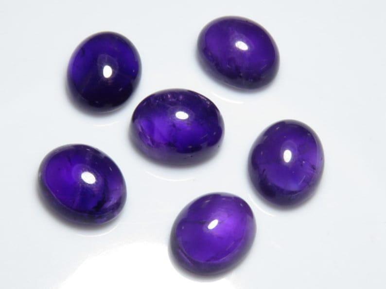 Natural Purple Color Ameythyst Wholesale Price Lot Good  Quality Pcs 8 Size 10x12 mm Oval Shape  Cabochon