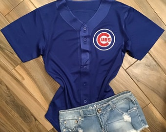 6c668ab9 Chicago Cubs Inspired Glitter Jersey // Custom Chicago Cubs Glitter Tee //  Cubs baseball jersey// Cubs Women's Apparel // Cubs
