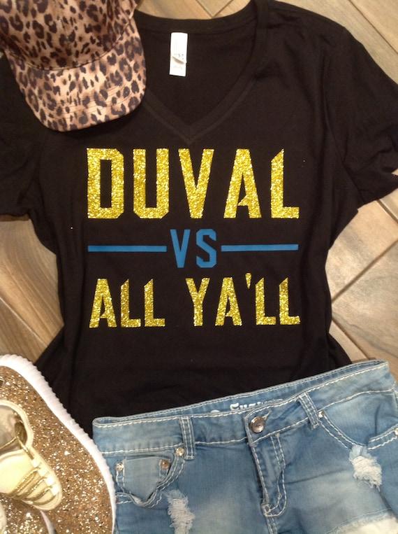 online store d8878 b51ea Jacksonville Jaguars Glitter Shirt // Duval vs All Yall Jags glitter Tee //  Jacksonville Jaguars // Jags Sparkle Shirt // Jaguars // Duuuva