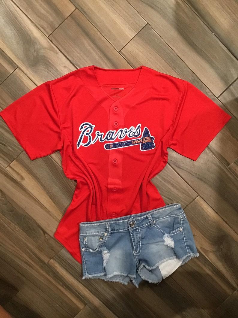 brand new 222f4 40134 Atlanta Braves Inspired Glitter Jersey // Custom Atlanta Braves Glitter Tee  // Braves baseball jersey// Braves Women's Apparel // Braves