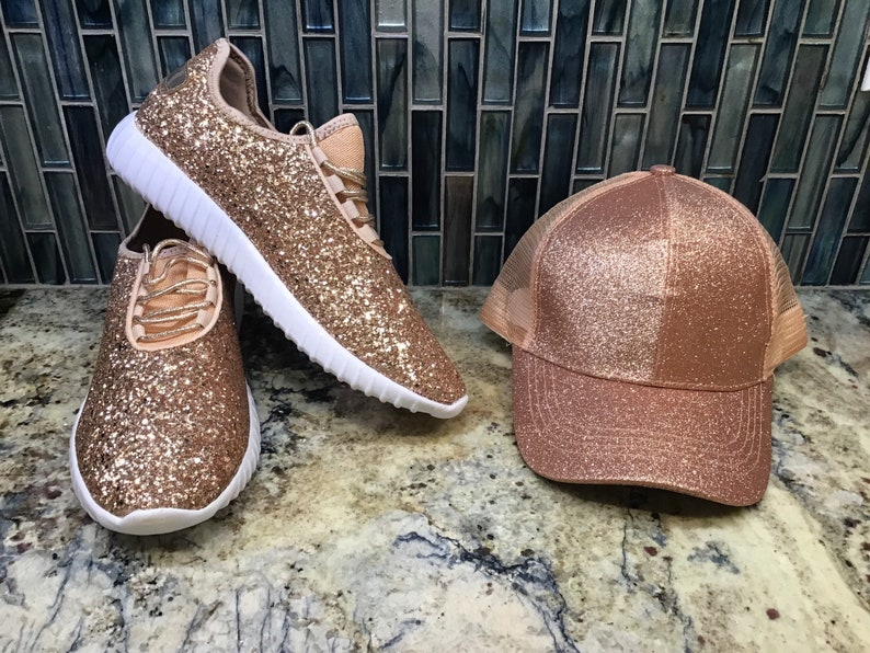 5d323a999b5ab Glitter Sneakers and Matching CC Glitter High Ponytail Hat