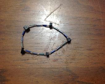 jet + blue bead bracelet